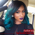 2017 Malaysian Wave Bob Wigs Dark Root Wave Wig Ombre Blue Color Synthetic Lace Front Wigs Heat Resistant Synthetic Hair Wigs