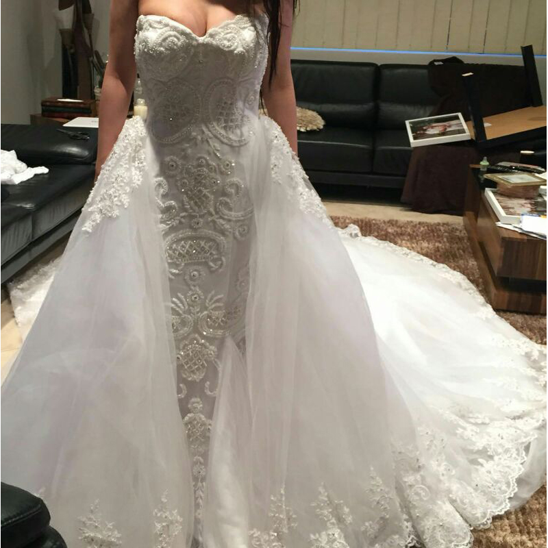 Beaded Wedding Dress With Detachable Train: Beaded Wedding Dress Detachable Train Sweetheart Mermaid