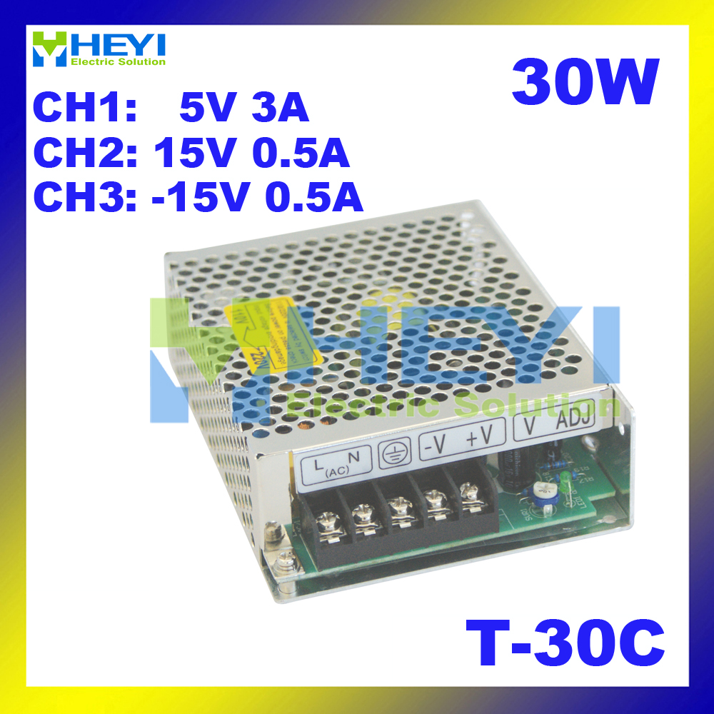Triple switching power supply <font><b>5V</b></font> <font><b>3A</b></font>, 15V 0.5A, -15V 0.5A <font><b>ac</b></font> to <font><b>dc</b></font> T-30C power supply image