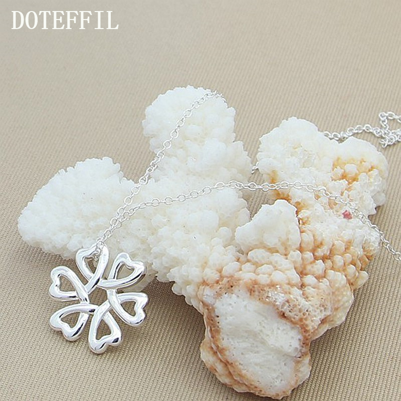 Necklace 2017 Genuine 925 Sterling Silver Necklaces Women Real 925 Silver Fashion Jewelry Female Cute Flower Pendant Necklaces