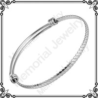 MJB0439 60mm 316L Stainless Steel Adjustable Wire Bangle With Removable Ball For Charm Bracelet For Woman