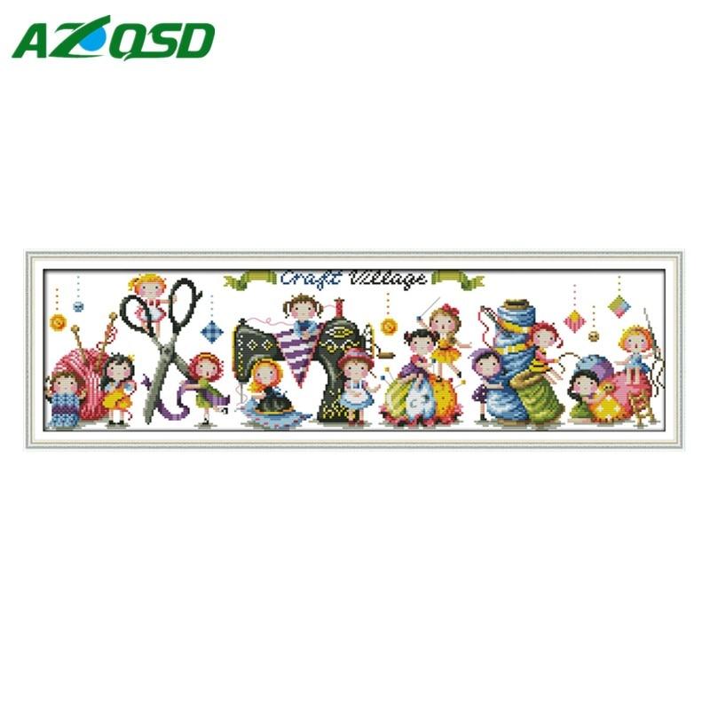 ᗑDMC 11CT 14CT Cruz Craft village decoración pinturas impresión ...
