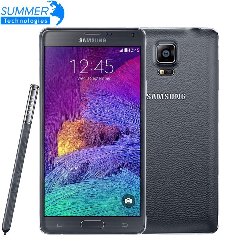 """Цена за Оригинальный Разблокирована Samsung Galaxy Note 4 N9100 N910 Snapdragon 805 LTE 5.7 """"16 ГБ ROM 3 ГБ RAM NFC WLAN Мобильный Телефон"""