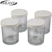 Стаканчики стеклянные для йогуртницы BRAND4001, набор состоит из 4 шт* 200мл. пластиковая крышка с индикатором даты