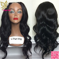 U Part Human Hair Wigs Wavy Brazilian Virgin Hair Glueless U part Wig Body Wave Middle Part UPart Wig For Black Women