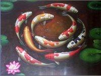 картина маслом на холсте современного фэн-шуй рыбы 100% оригинал ручной работы непосредственно от художника искусства ручной работы ysdp769