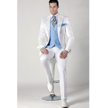 Silm Fit White Wedding Suits Bespoke Formal Groom Tuxedos Best Man Party Business Prom Suit