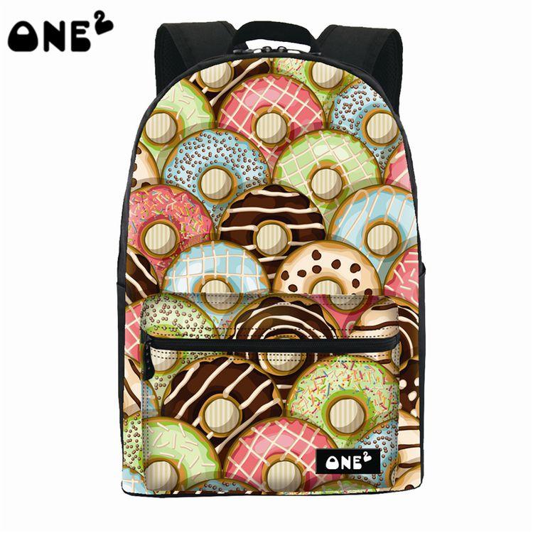 ФОТО 2016 ONE2 Design sweet cookie pattern printing popular backpack nylon modern university school bag backpack trendy laptop bag