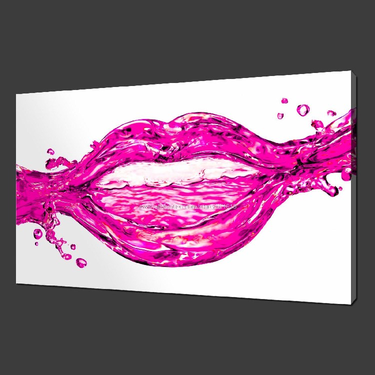 Pink Lips Water Splash Canvas Modern Many Oil Paintings Black White ...