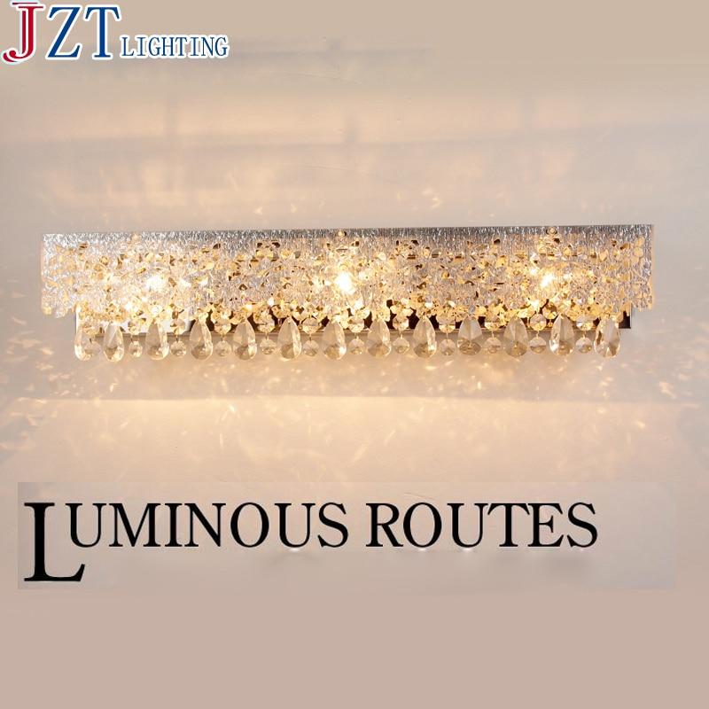 M European Style Bathroom Hollow Carved Crystal Lamp Waterproof Anti-Fog Wall Lights Stainless Steel Professional Makeup Lights