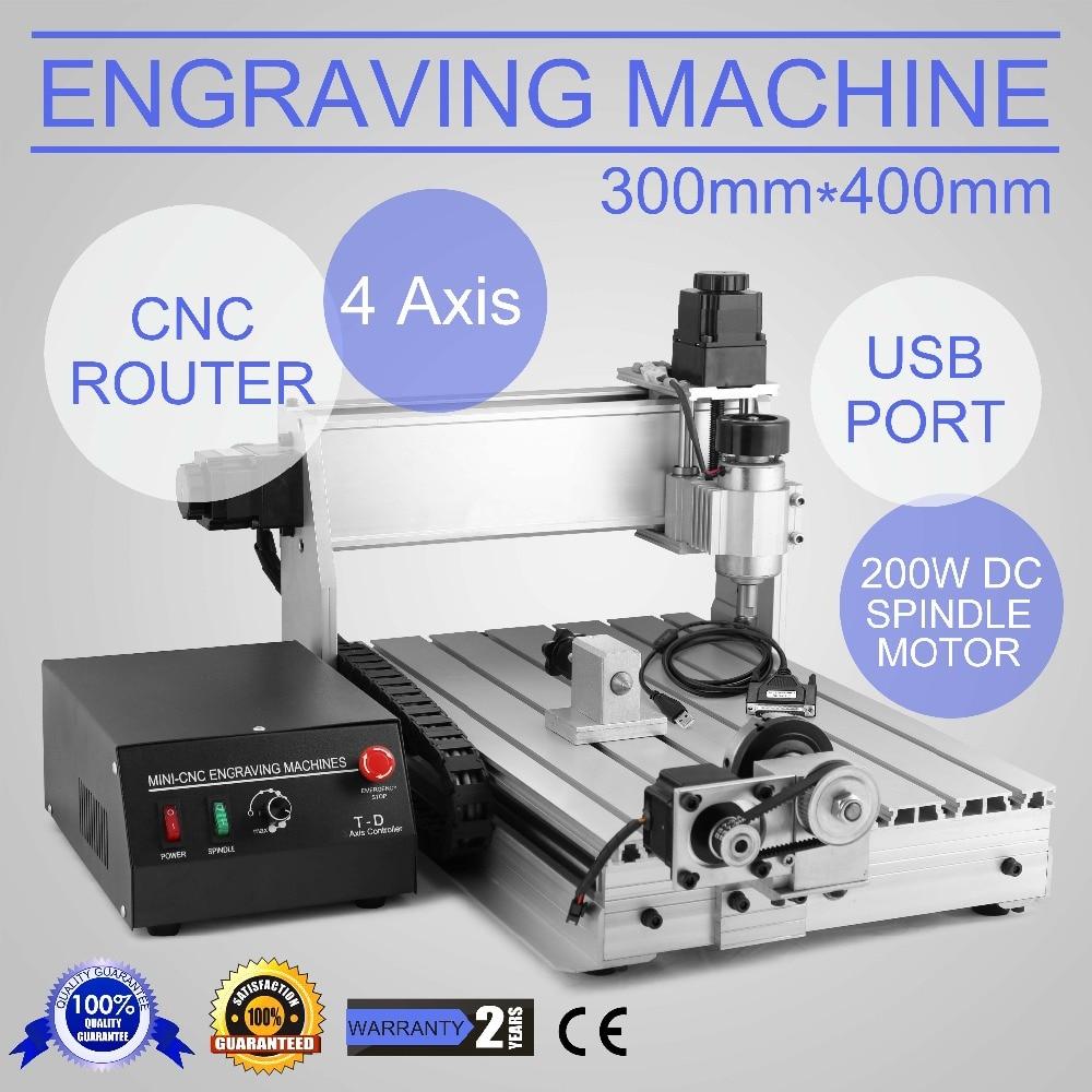 CNC 3040T ROUTER ENGRAVER ENGRAVING DRILLING MILLING EQUIPMENT 4 AXIS DESKSTOP CNC