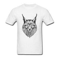 Fashion Print Mens Shirts Summer Lynx Printed Tee Shirts Short Sleeve Mens T Shirts Plus Size
