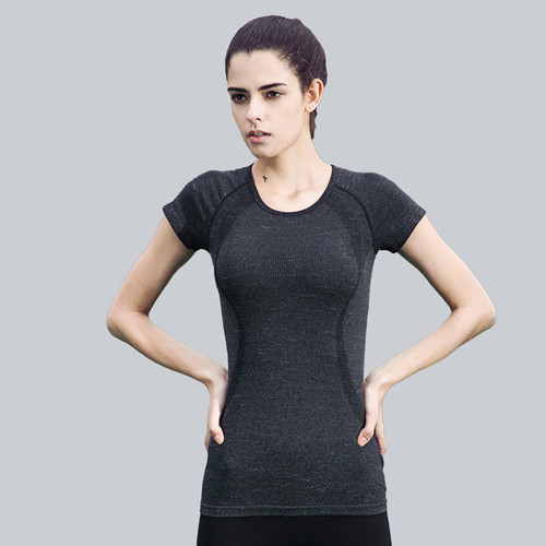 cf35b3e20886 2018 Running Clothing Gym Fitness Yoga Nylon Material T-Shirt Round Neck A  Single Color T-shirt Women s Sexy Sports Tops Tees