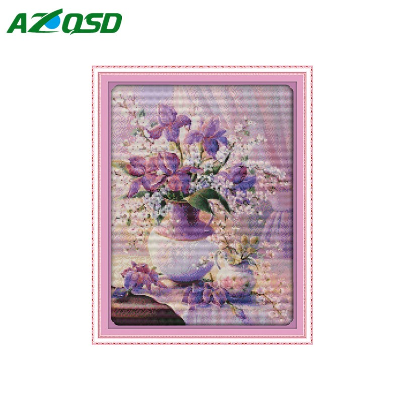 Фиолетовый цветок вышивка крестом