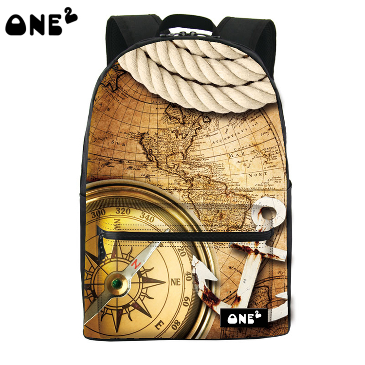 2016 ONE2 Design compass pattern hot shot backpack eminent backpack laptop bag women school bag