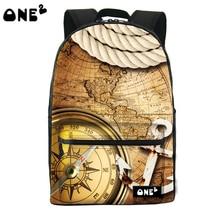 2016 ONE2 Дизайн компас pattern hot shot рюкзак видных рюкзак ноутбук сумка женщины мешок школы