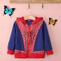 2016 venda Quente Do Bebê das meninas Dos Meninos Crianças Spiderman Hoodies do Pulôver Da Camisola das crianças hoody roupas