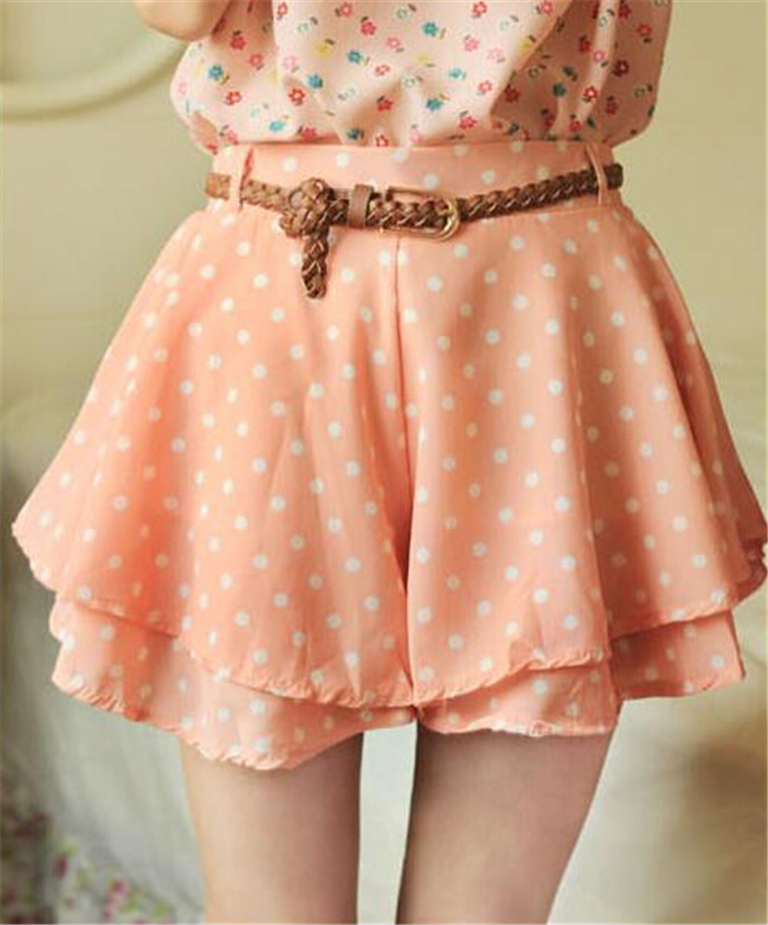 Fashion Women Elastic Waist Pleated Skirt Culotte Sweet Girl Polka Dot Chiffon pantskirt with Belt 11476447