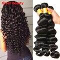 Grade 7A Peruvian Virgin Hair Loose Deep Wave Human Hair 3Bundles 100g 1b Black Loose Wave Virgin Hair Perruque Cheveux Humain