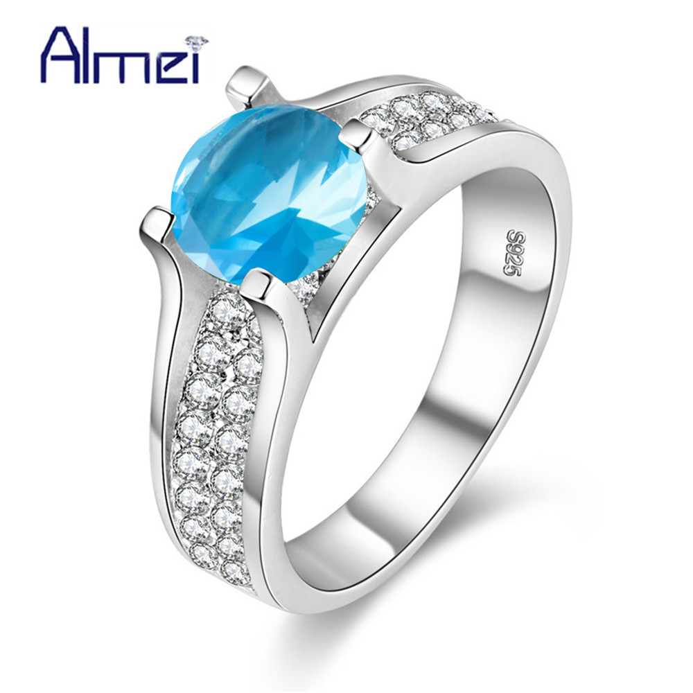 almei 2017 sale discounts blue zircon ring pink silver color womens jewelry engagement rings for women purple stone flower y006 - Discount Wedding Rings Women