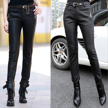 2016 Street Fashion Ladies PU Leather Wild Slim Pencil Pants Black Plus Size High Waist Women Trousers S-5XL A-116