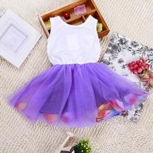 Cotton + Lace Summer Colorful Mini Tutu Dress Petal Hem Dress Floral Clothes Princess Baby Vestido