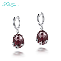 2017 Limited Hot Sale Plant Women Trendy 925 Sterling Natural Garnet Stone Elegant Clip Earrings For Woman Fashion Jewelry Gift