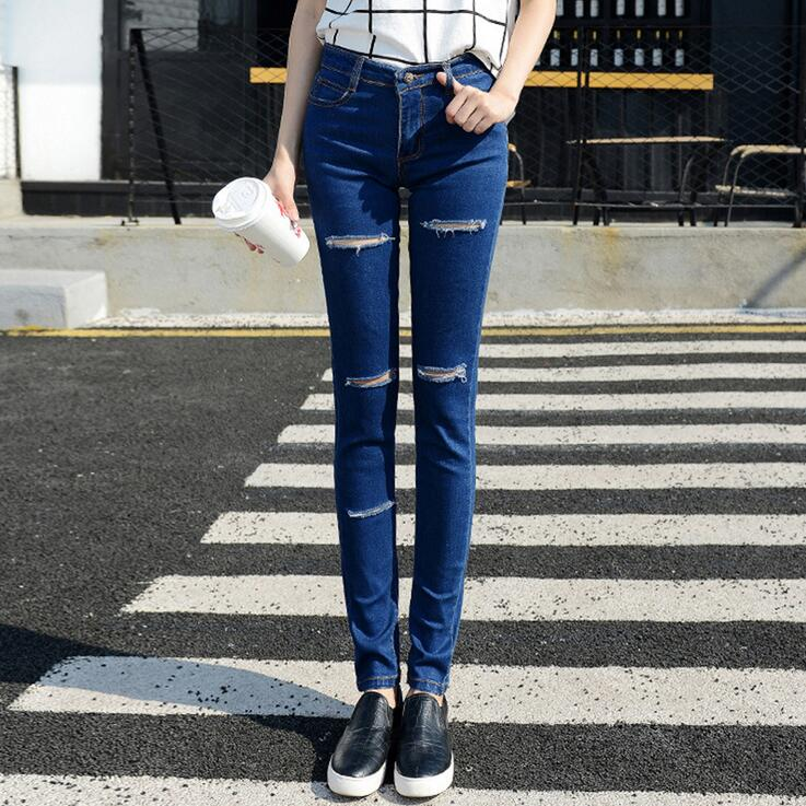 #3211 2016 Spring summer 2016 Skinny jeans woman Fashion Ripped Biker jeans women Destroyed Pantalones mujer jeans with holes