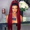 Горячие Продажи Ombre Кружева Перед Парики Перуанский Полный Парики Шнурка Моды # 1B 99J Волос С Волосами Младенца Быстрая Доставка