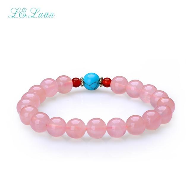 8MM Natural Pink Rose Quartz Trendy Round Bracelet Jewelry For Women Party Gift Fashion Fine Jewelry Charm Bracelet