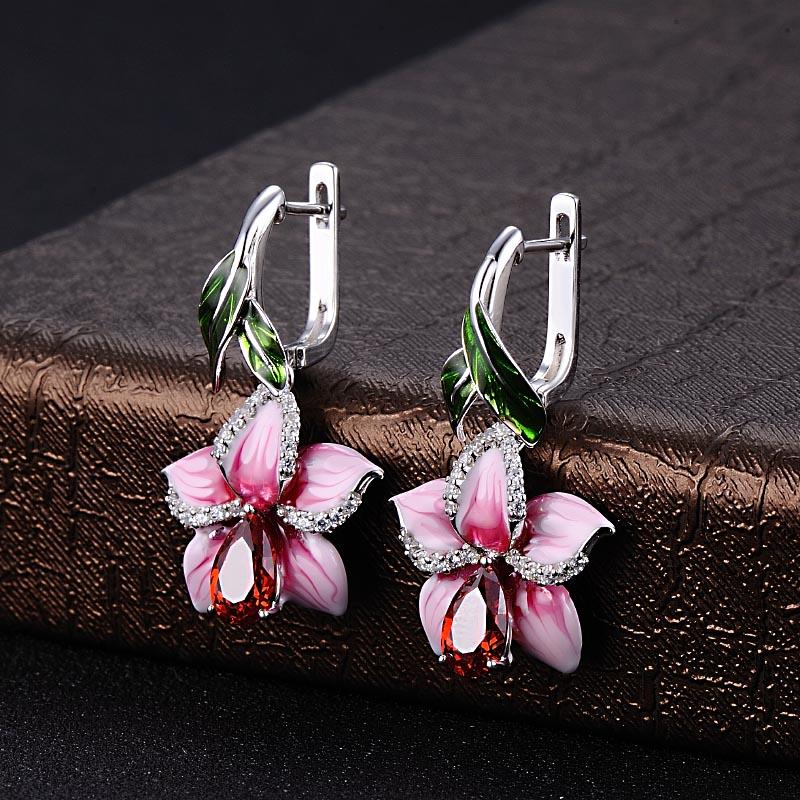 silver pink flower enamel earrings-E303872ENASL925-SV4 -