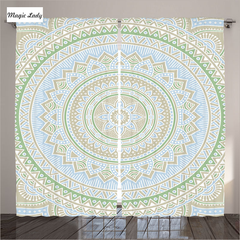 Curtains living room modern bedroom pattern mandala indian - Curtain ideas for living room india ...