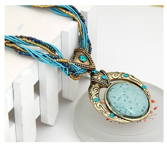 F&U Retro Bohemia Necklace Crack Round Pendant Multilayer Colorful Beads Chain Vintage Necklace Jewelry Fashion For Women 7