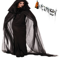 Взрослый черный с привидениями накидка и платье костюм Хэллоуина и партии Косплэй Платье черного цвета ведьмы tenigmatic Чародейка CS24563