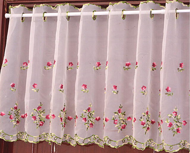 Embroidered Kitchen Curtains   Tiers Valance Or Swag Cafe Curtain W 59 By H  25 Inch