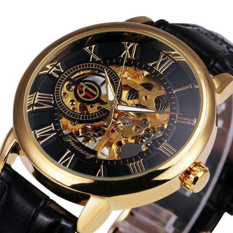 Forsining 3d logo design hohl gravur schwarz gold skeleton mechanische uhren heren lederband heren horloge