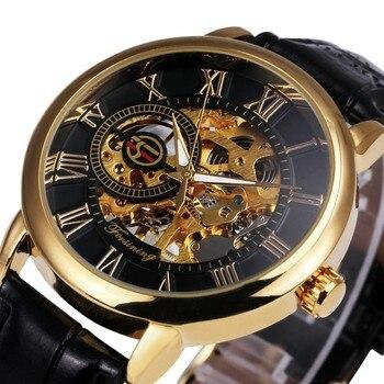 Forsining 3d חריטה חלול עיצוב לוגו מקרה זהב שחור שלד מכאני גברים שעונים רצועת עור heren heren horloge