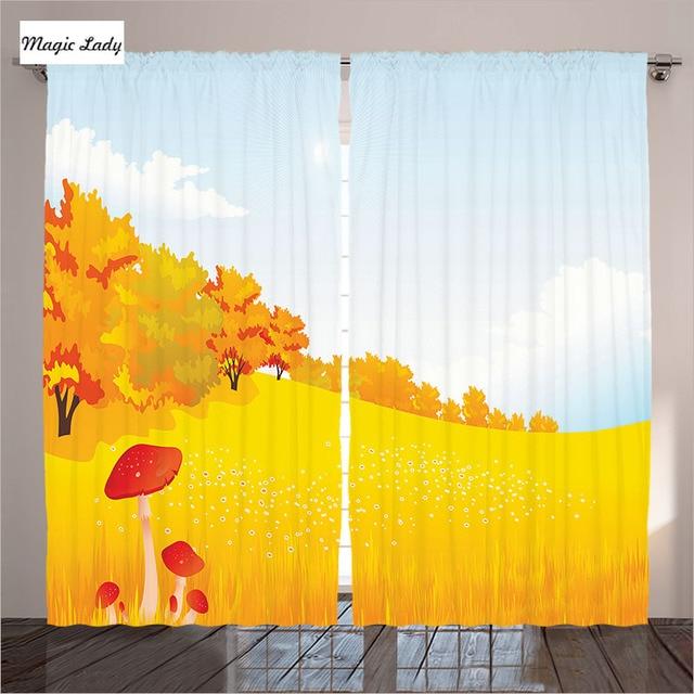 Gelb Vorhange Wohnzimmer Schlafzimmer Herbst Landschaft Wiese Natur