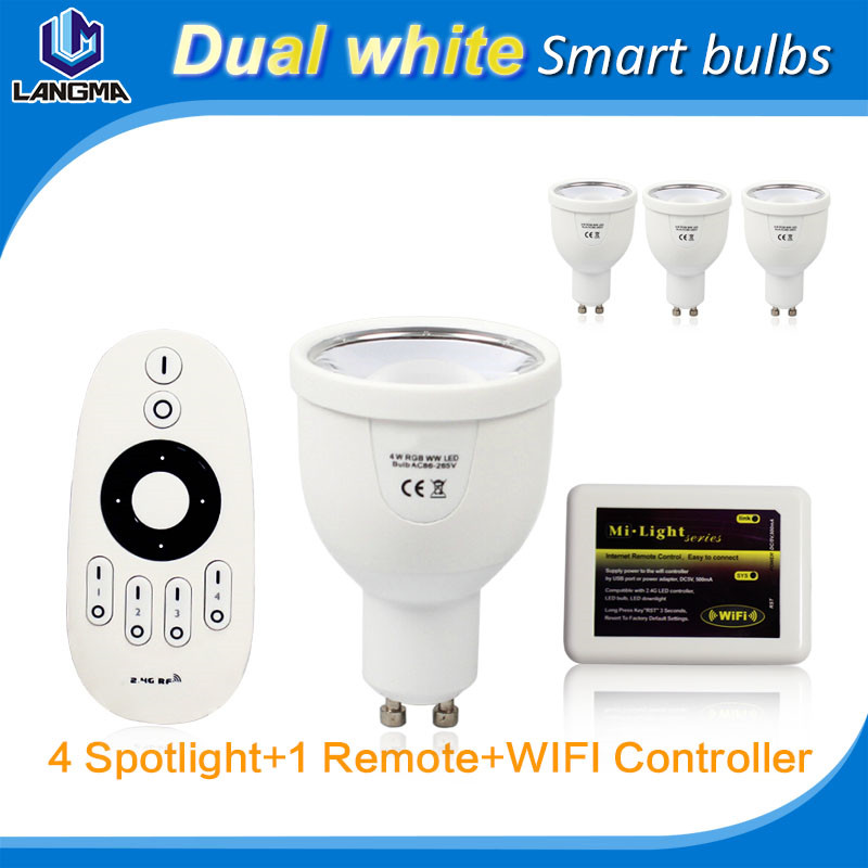 4W LED spotlight GU10 2.4G WiFi Wireless Remote Control Bulb Lamp Light Brightness Dimmable for smart phone