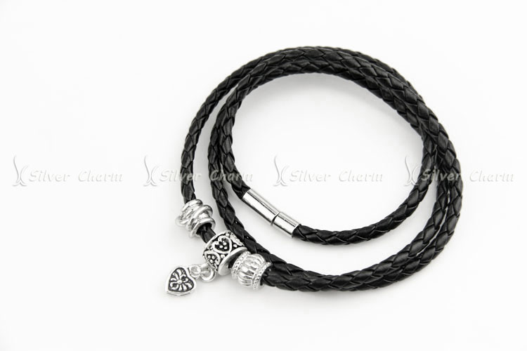 Newest Arrival Silver Charm Black Leather Bracelet for Women Five Colors Magnet Clasp Christmas Gift Jewelry PI0311 UT8tDGzXmRaXXagOFbXF