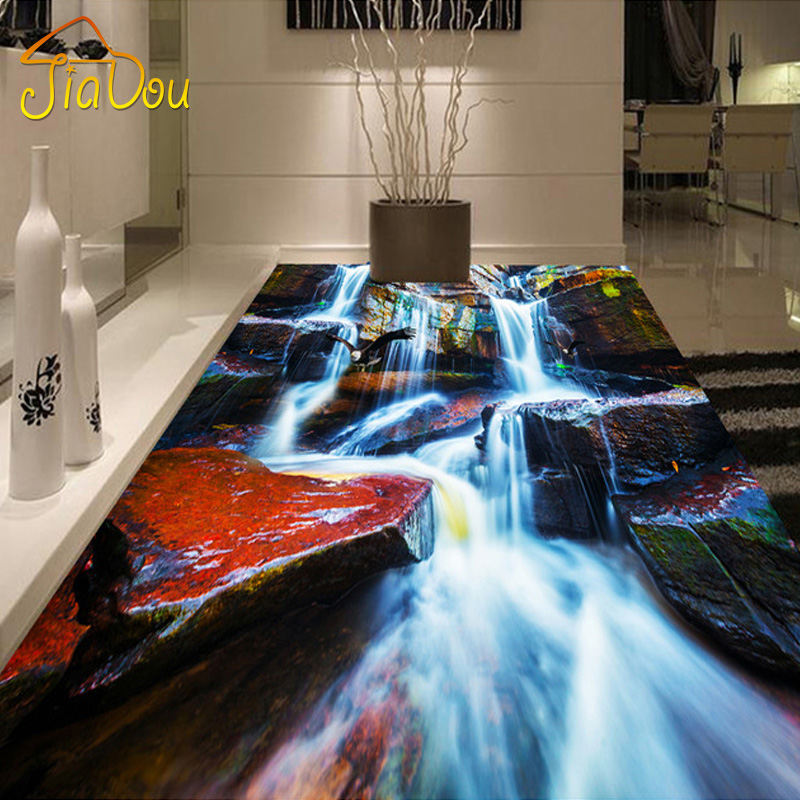 Custom photo floor wallpaper 3d rock waterfall bedroom for Bathroom floor mural sky