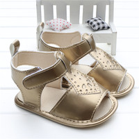 2016 New Arrival Cool Baby Girls Rose Metallic T Bar Leather Sandals Skidproof Toddlers Infant Children