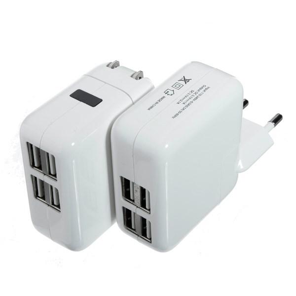 4 порта USB портов сша / ес вилка для дома путешествие стена переменный ток зарядное устройство адаптер