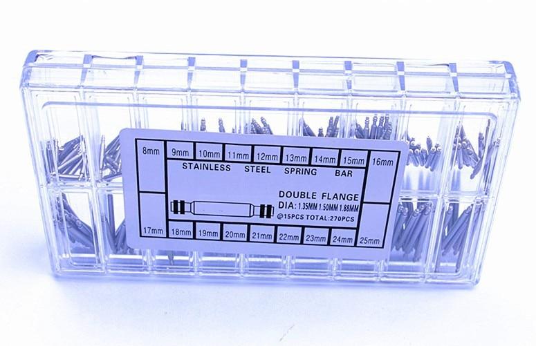 270 шт./компл. все 1,5 мм Диаметр пружинистый стержень Нержавеющая сталь пружинистый стержень& ремешковые оси шарнира часы запасных частей-121405