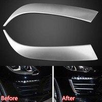 YAQUICKA 2Pcs/set Exterior Car Daytime Running Light Lamp Eyebrow Trim Styling Sticker Sequins For Macan Matt Silver ABS