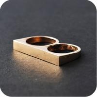 208 # Европа и американские ювелирные мода супер текстуры простой сюжет двойной палец кольцо