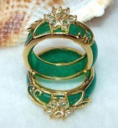10pc Beautiful Tibet Silver Carved Green Jade Ring Shipping Free