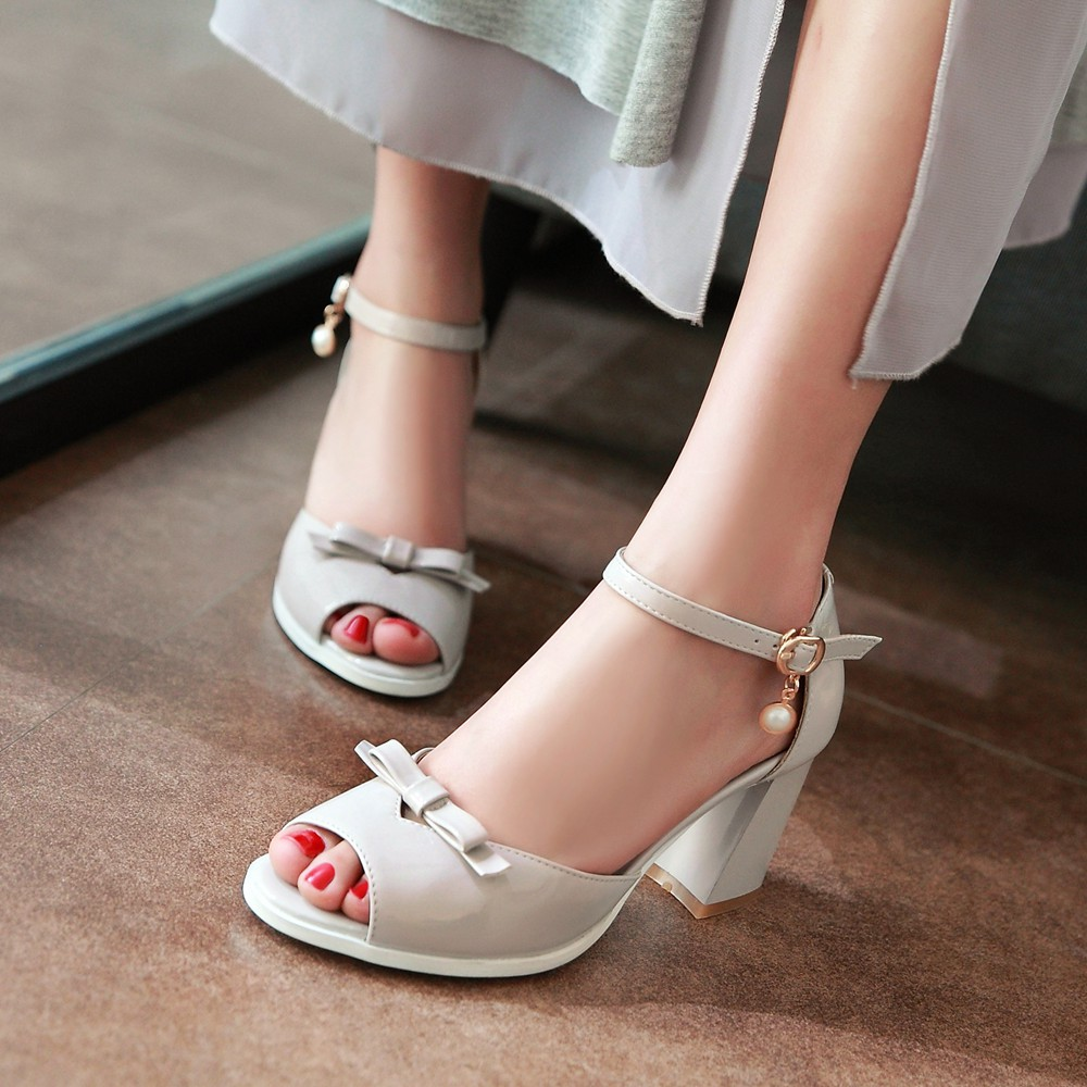 ФОТО 2016 Women new fashion sandals spring summer buckle strap Square heel with Bowtie Solid color shoes big size 34-43 T323