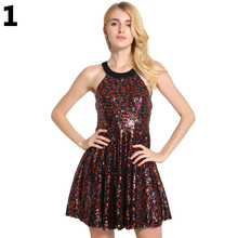 Lady Summer Sexy Halter Backless Sequins Cocktail Party Mini Dress Clubwear