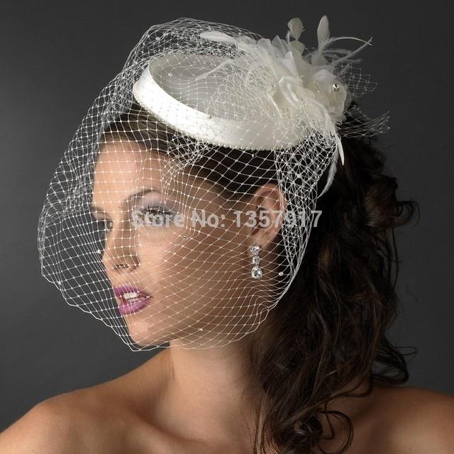 Fascinator Bride Wedding Hats Face Veils Beautiful White/Ivory Birdcage Bridal Flower Feathers